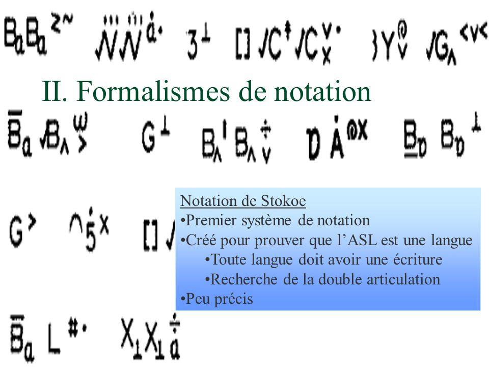 Notation de Stokoe Premier système de notation Créé pour prouver que lASL est une langue Toute langue doit avoir une écriture Recherche de la double a