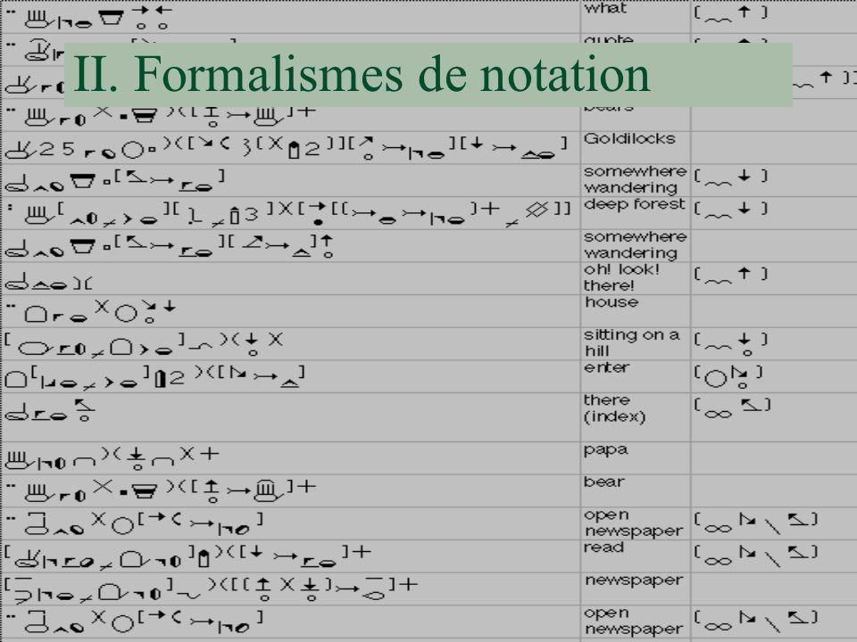 II. Formalismes de notation