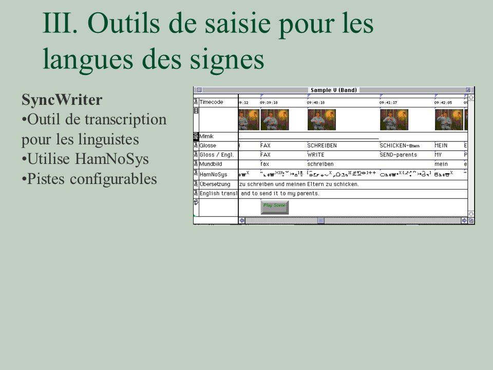 III. Outils de saisie pour les langues des signes SyncWriter Outil de transcription pour les linguistes Utilise HamNoSys Pistes configurables