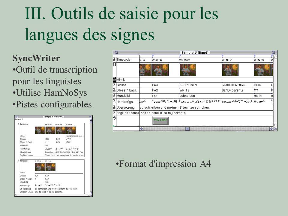 III. Outils de saisie pour les langues des signes SyncWriter Outil de transcription pour les linguistes Utilise HamNoSys Pistes configurables Format d