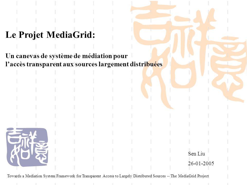 Le Projet MediaGrid: Un canevas de système de médiation pour laccès transparent aux sources largement distribuées Sen Liu 26-01-2005 Towards a Mediati