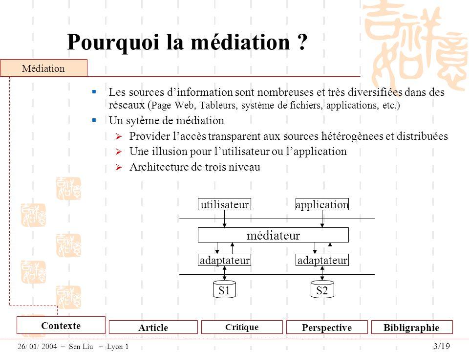Pourquoi la médiation ? Les sources dinformation sont nombreuses et très diversifiées dans des réseaux ( Page Web, Tableurs, système de fichiers, appl