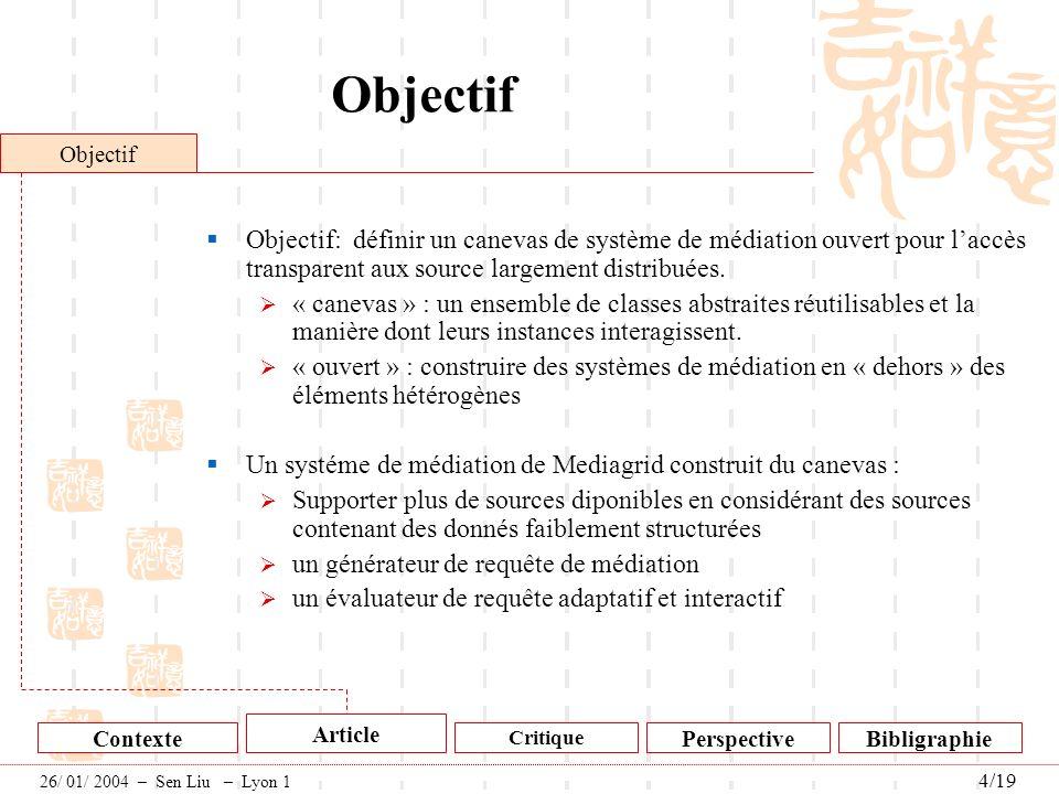 Objectif Objectif: définir un canevas de système de médiation ouvert pour laccès transparent aux source largement distribuées. « canevas » : un ensemb