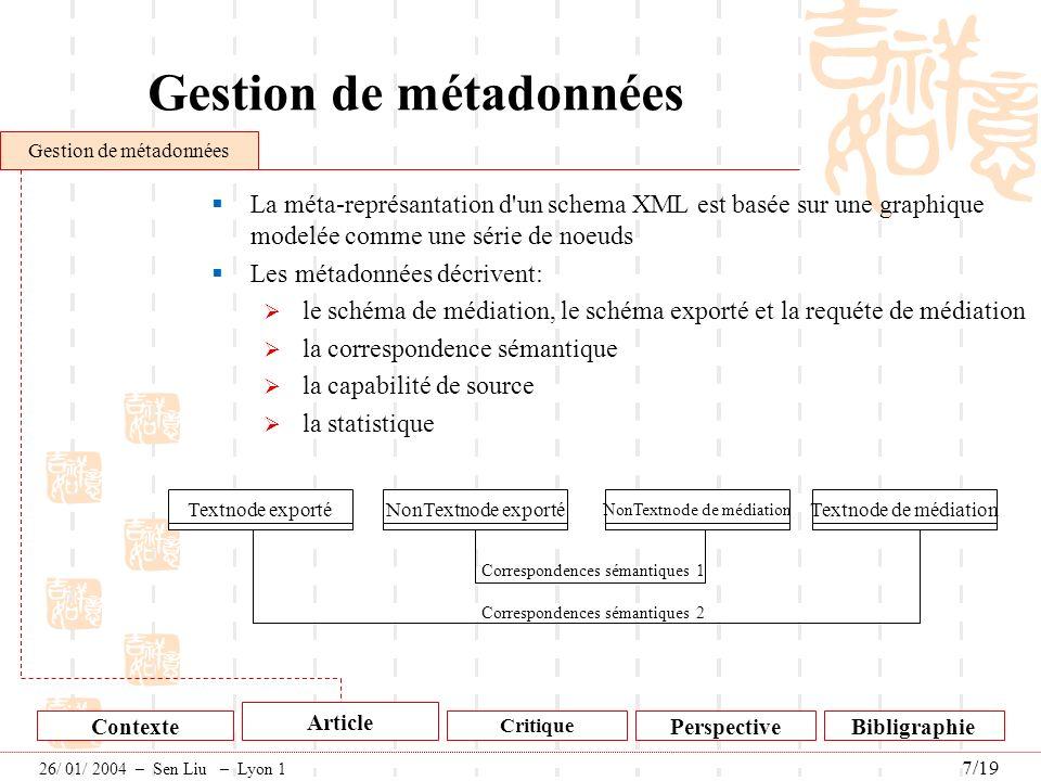 Gestion de métadonnées La méta-représantation d'un schema XML est basée sur une graphique modelée comme une série de noeuds Les métadonnées décrivent: