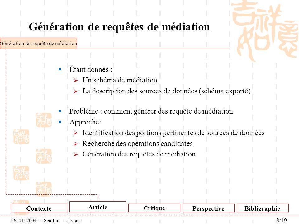 Génération de requêtes de médiation Étant donnés : Un schéma de médiation La description des sources de données (schéma exporté) Problème : comment gé