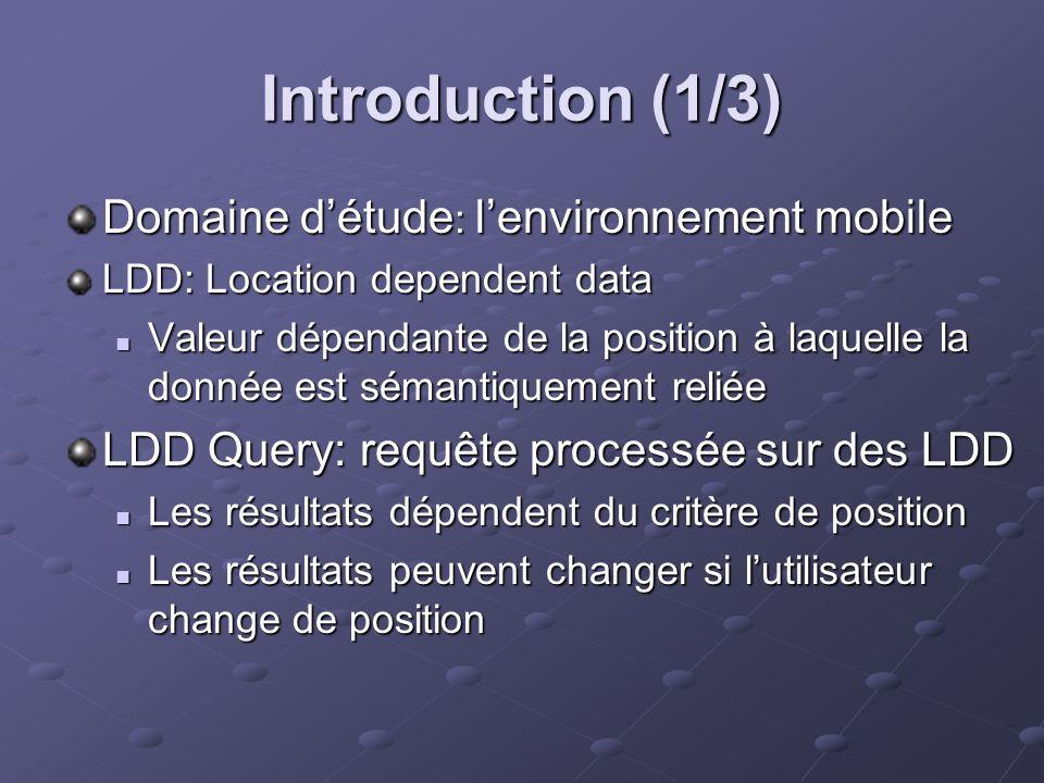 Introduction (1/3) Domaine détude : lenvironnement mobile LDD: Location dependent data Valeur dépendante de la position à laquelle la donnée est séman