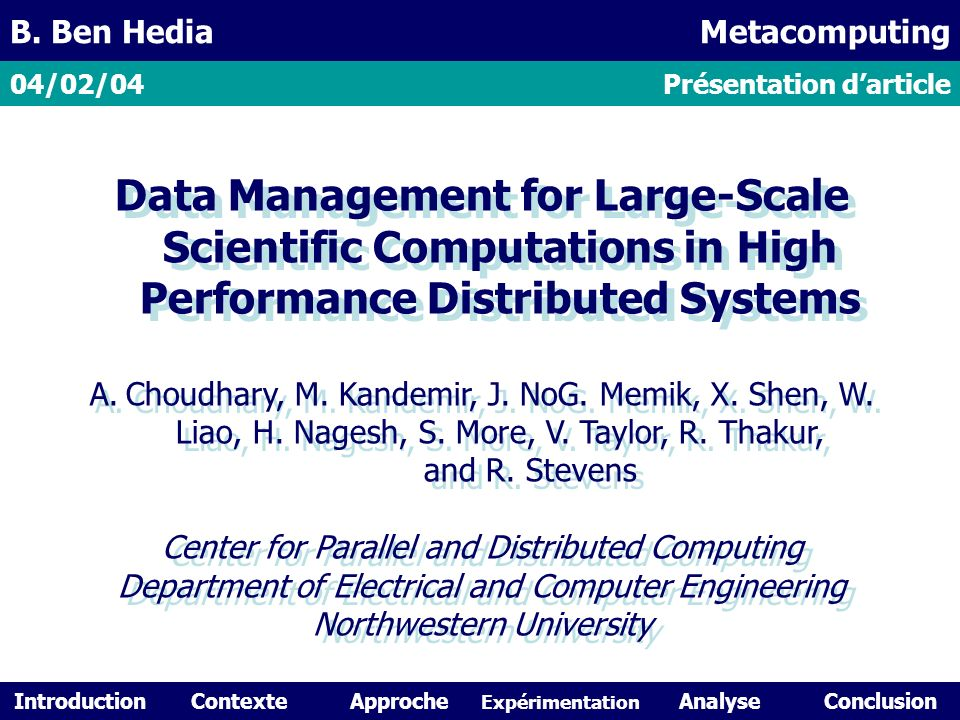 Data Management for Large-Scale Scientific Computations in High Performance Distributed Systems A.