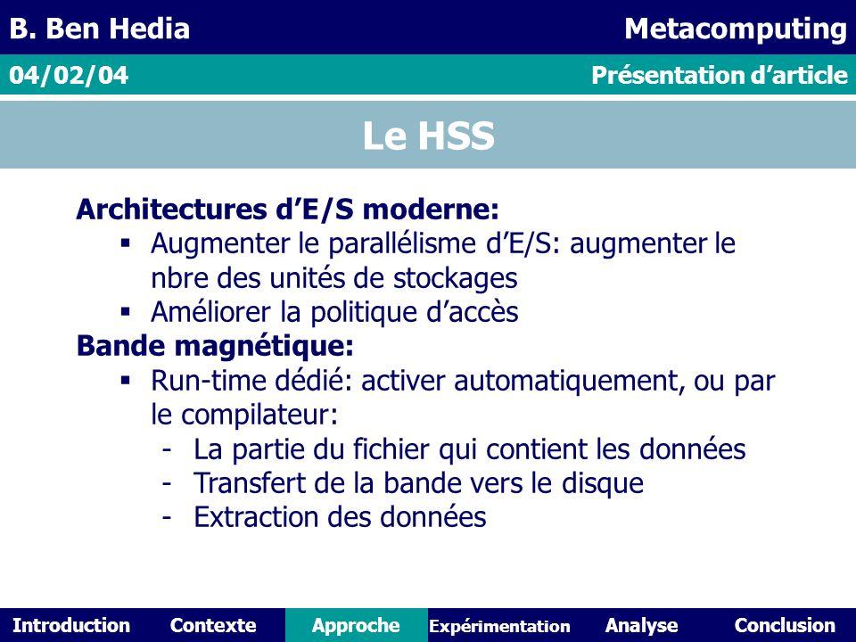 IntroductionContexteAnalyseConclusionApproche Expérimentation Le HSS Architectures dE/S moderne: Augmenter le parallélisme dE/S: augmenter le nbre des unités de stockages Améliorer la politique daccès Bande magnétique: Run-time dédié: activer automatiquement, ou par le compilateur: -La partie du fichier qui contient les données -Transfert de la bande vers le disque -Extraction des données Présentation darticle04/02/04 B.