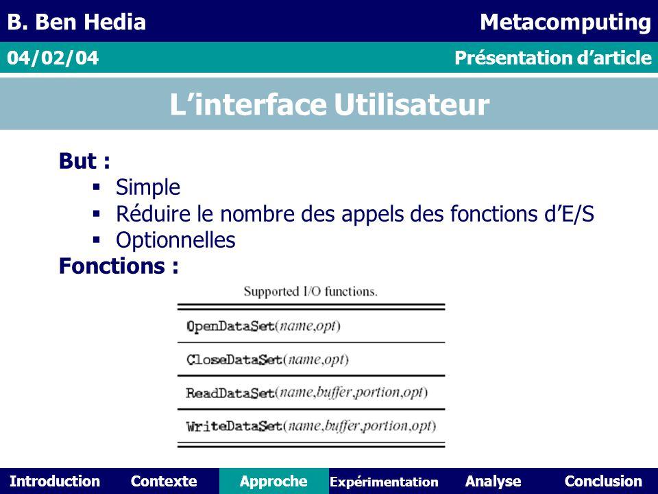 IntroductionContexteAnalyseConclusionApproche Expérimentation Linterface Utilisateur But : Simple Réduire le nombre des appels des fonctions dE/S Optionnelles Fonctions : Présentation darticle04/02/04 B.