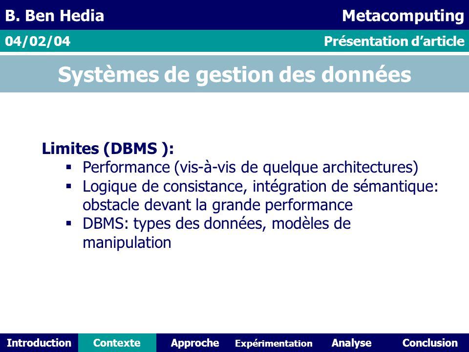 IntroductionContexteAnalyseConclusionApproche Expérimentation Systèmes de gestion des données Limites (DBMS ): Performance (vis-à-vis de quelque architectures) Logique de consistance, intégration de sémantique: obstacle devant la grande performance DBMS: types des données, modèles de manipulation Présentation darticle04/02/04 B.