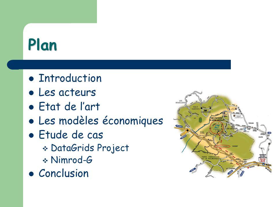 Plan Introduction Les acteurs Etat de lart Les modèles économiques Etude de cas DataGrids Project Nimrod-G Conclusion