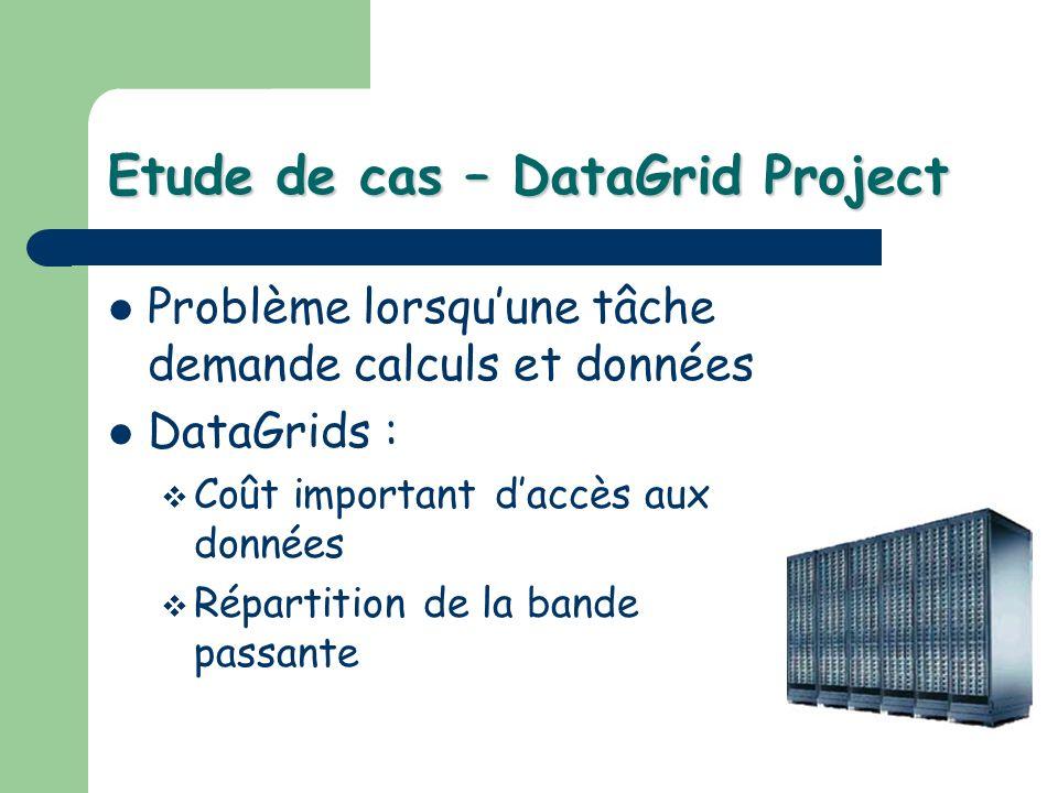 Etude de cas – DataGrid Project Problème lorsquune tâche demande calculs et données DataGrids : Coût important daccès aux données Répartition de la ba