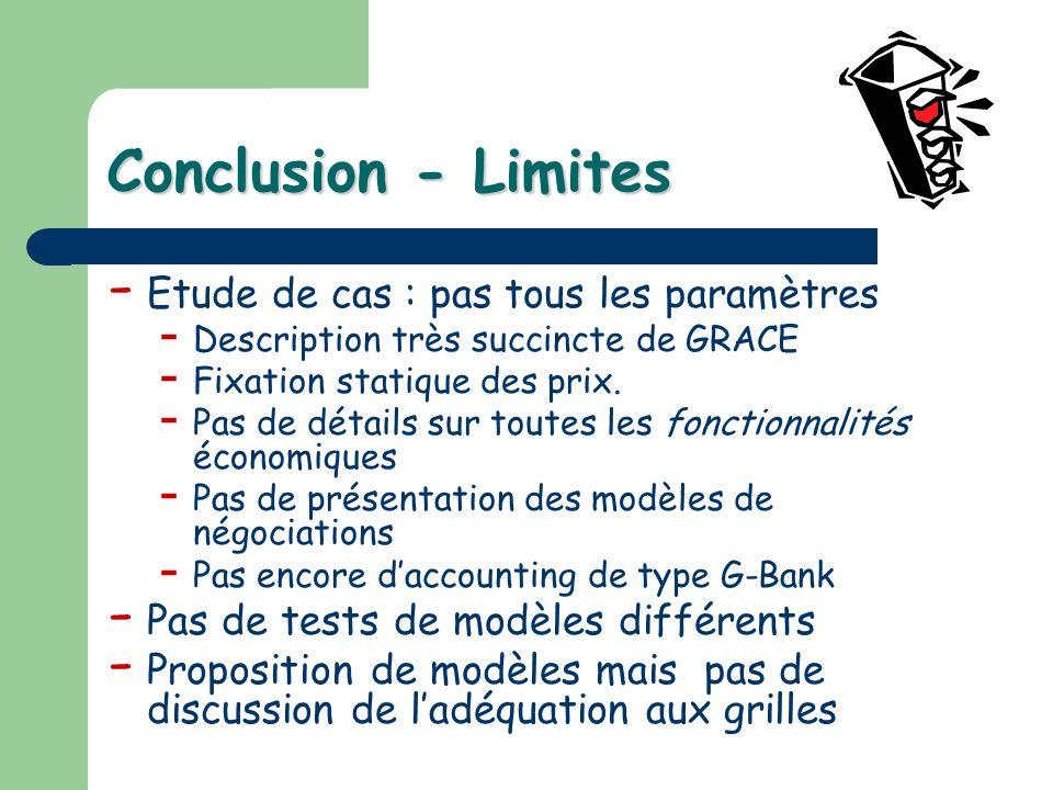 Conclusion - Limites - Etude de cas : pas tous les paramètres - Description très succincte de GRACE - Fixation statique des prix. - Pas de détails sur
