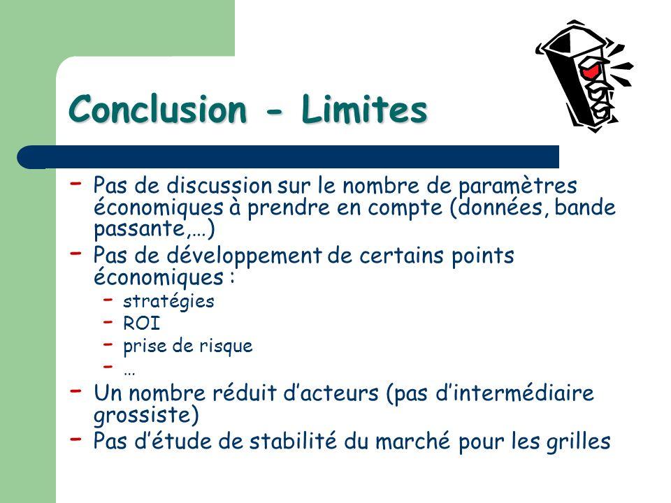 Conclusion - Limites - Pas de discussion sur le nombre de paramètres économiques à prendre en compte (données, bande passante,…) - Pas de développemen