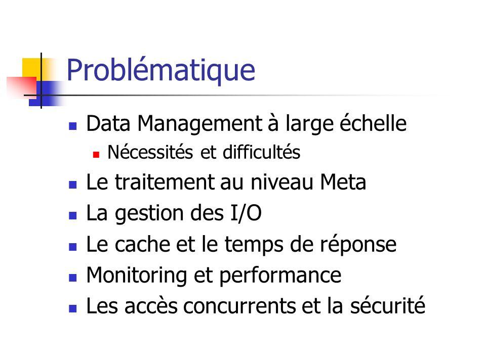 Problématique Data Management à large échelle Nécessités et difficultés Le traitement au niveau Meta La gestion des I/O Le cache et le temps de répons