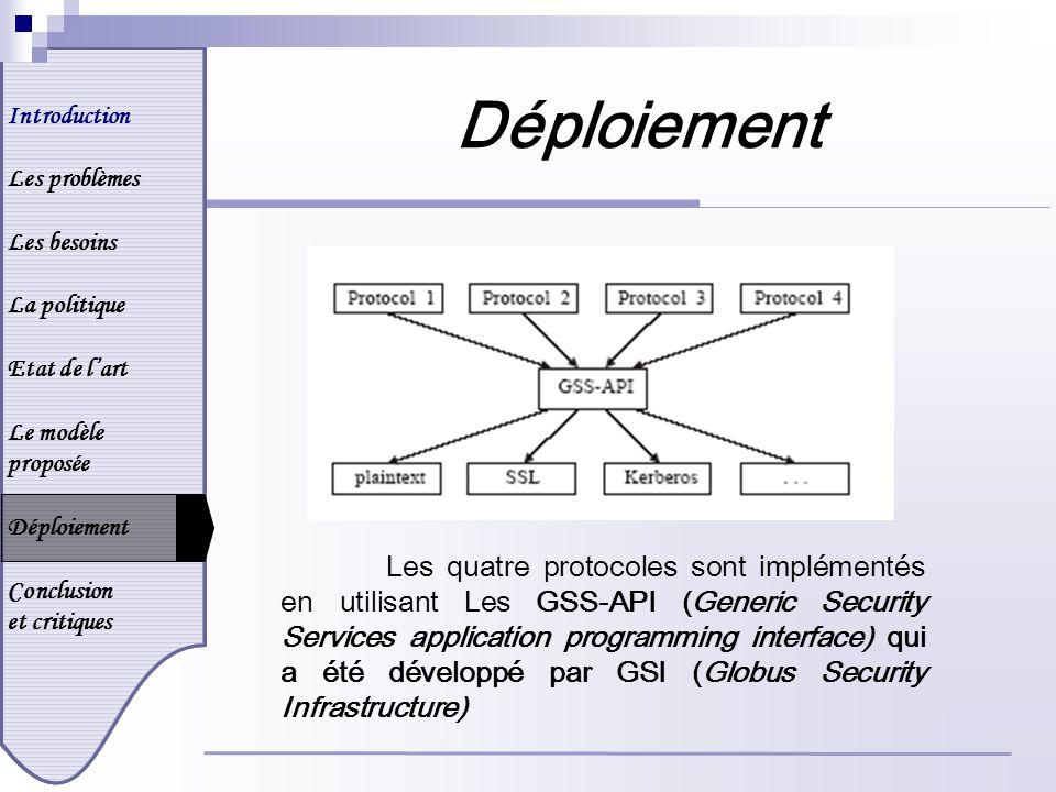 Introduction Les problèmes Les besoins La politique Etat de lart Le modèle proposée Déploiement Conclusion et critiques Déploiement Les quatre protocoles sont implémentés en utilisant Les GSS-API (Generic Security Services application programming interface) qui a été développé par GSI (Globus Security Infrastructure)