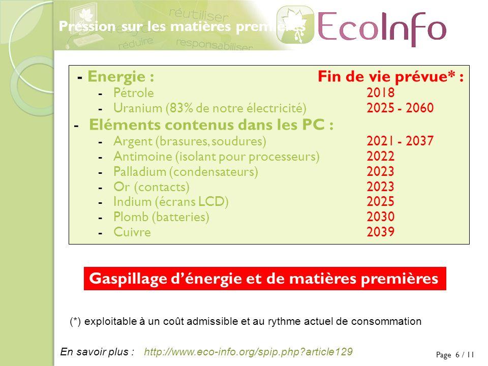 http://www.eco-info.org/spip.php article129En savoir plus : - Energie :Fin de vie prévue* : -Pétrole 2018 -Uranium (83% de notre électricité)2025 - 2060 -Eléments contenus dans les PC : -Argent (brasures, soudures)2021 - 2037 -Antimoine (isolant pour processeurs)2022 -Palladium (condensateurs)2023 -Or (contacts)2023 -Indium (écrans LCD)2025 -Plomb (batteries)2030 -Cuivre2039 Gaspillage dénergie et de matières premières Pression sur les matières premières Page 6 / 11 (*) exploitable à un coût admissible et au rythme actuel de consommation