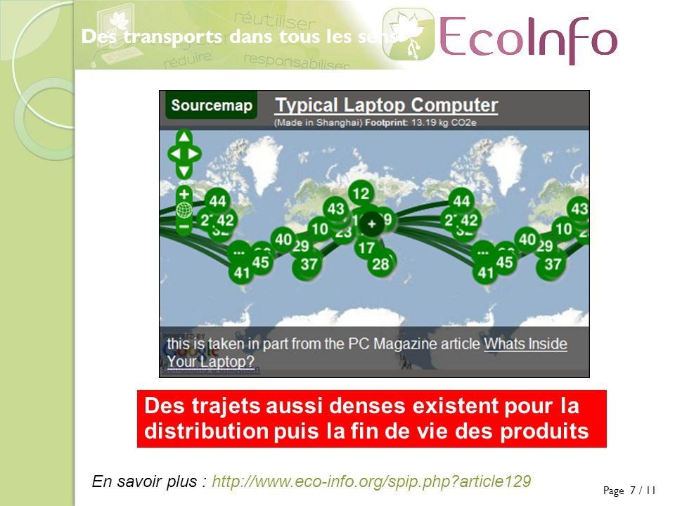 Des transports dans tous les sens Des trajets aussi denses existent pour la distribution puis la fin de vie des produits Page 7 / 11 En savoir plus : http://www.eco-info.org/spip.php article129