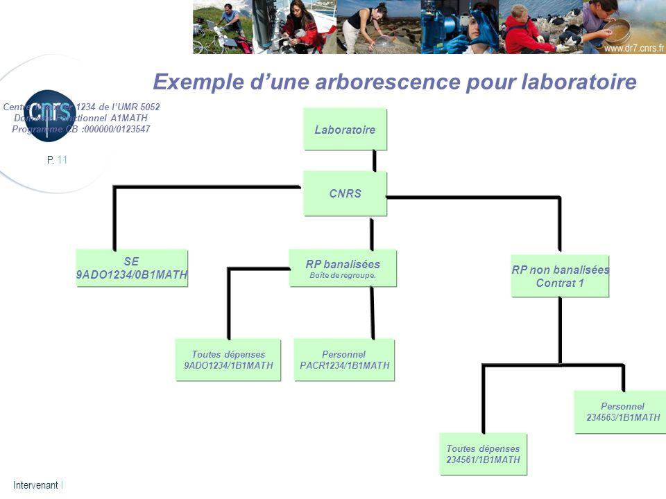 P. 11 Intervenant l Exemple dune arborescence pour laboratoire Centre financier 1234 de lUMR 5052 Domaine Fonctionnel A1MATH Programme CB :000000/0123