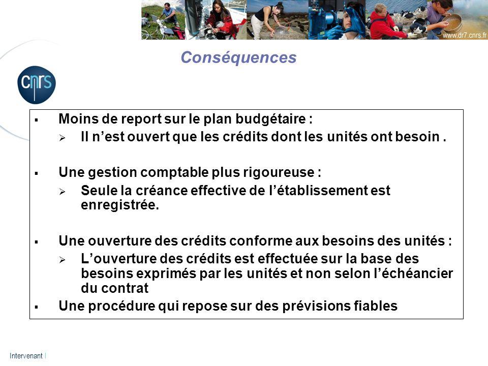 P. 13 Intervenant l Moins de report sur le plan budgétaire : Il nest ouvert que les crédits dont les unités ont besoin. Une gestion comptable plus rig