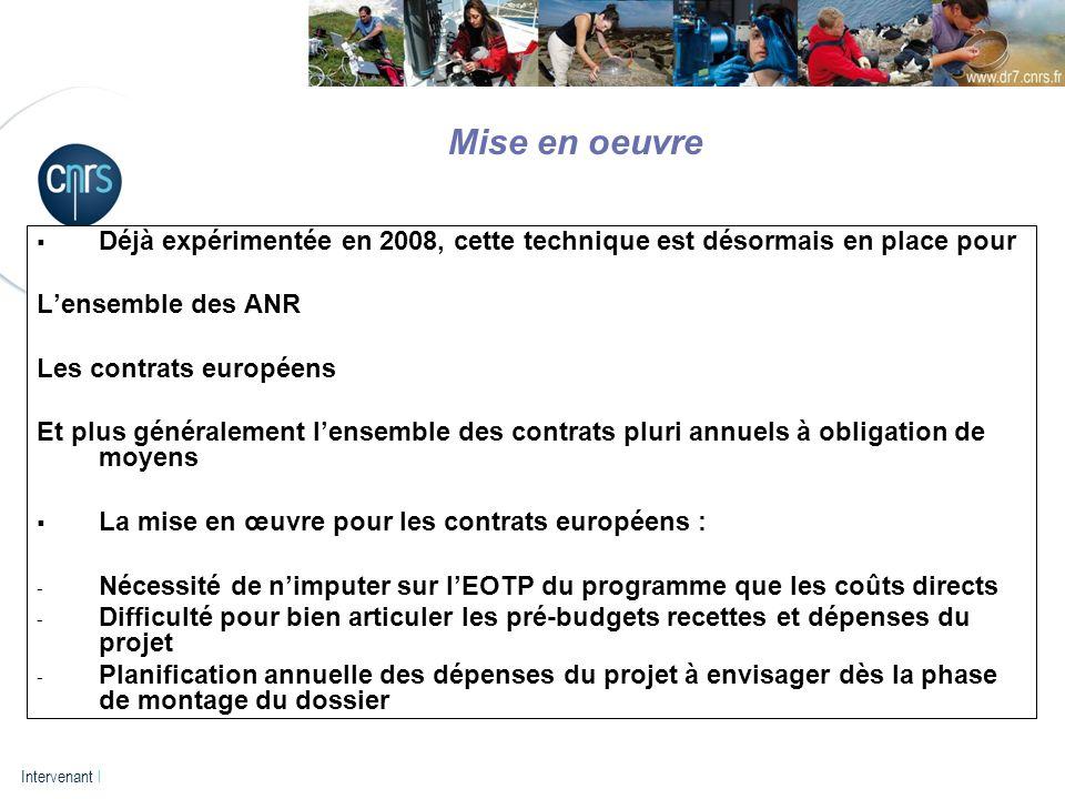 P. 14 Intervenant l Déjà expérimentée en 2008, cette technique est désormais en place pour Lensemble des ANR Les contrats européens Et plus généraleme