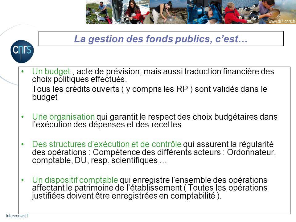P. 3 Intervenant l La gestion des fonds publics, cest… Un budget, acte de prévision, mais aussi traduction financière des choix politiques effectués.