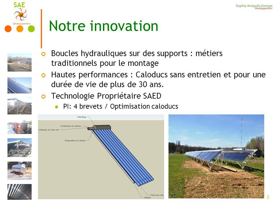 Développement SAE 5 Notre innovation Boucles hydrauliques sur des supports : métiers traditionnels pour le montage Hautes performances : Caloducs sans entretien et pour une durée de vie de plus de 30 ans.