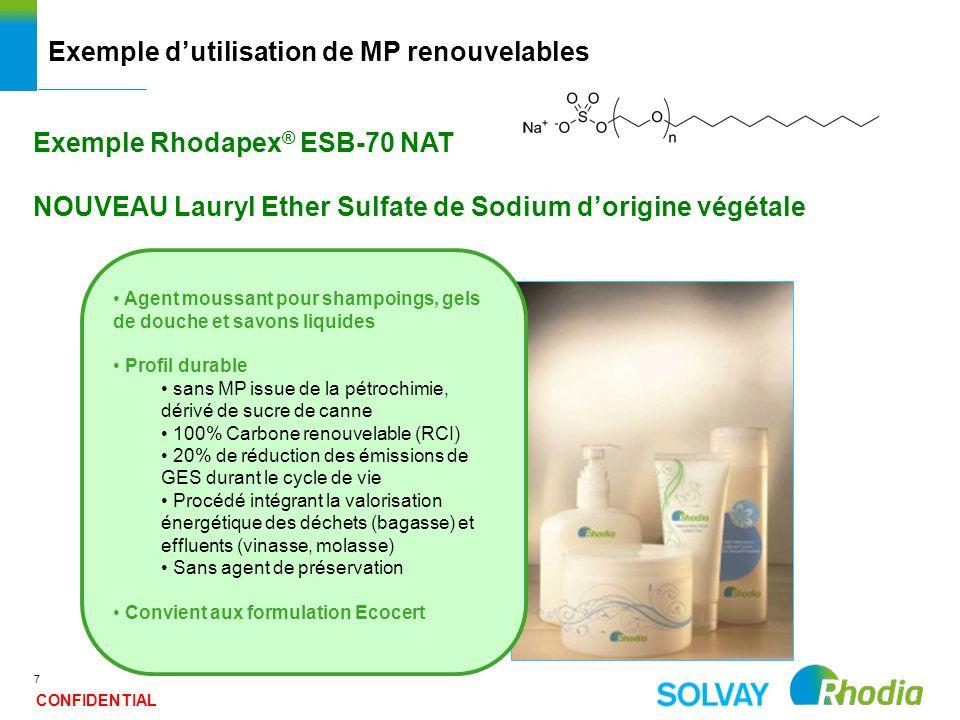 7 Exemple dutilisation de MP renouvelables Exemple Rhodapex ® ESB-70 NAT NOUVEAU Lauryl Ether Sulfate de Sodium dorigine végétale Agent moussant pour