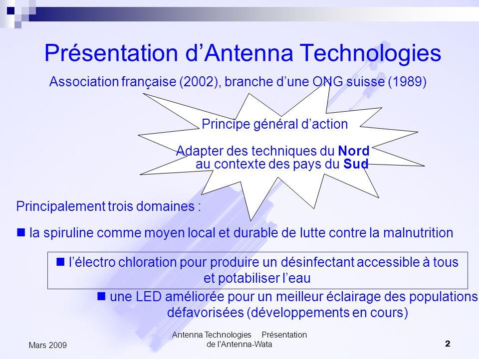 Antenna Technologies Présentation de l'Antenna-Wata2 Mars 2009 Présentation dAntenna Technologies Association française (2002), branche dune ONG suiss