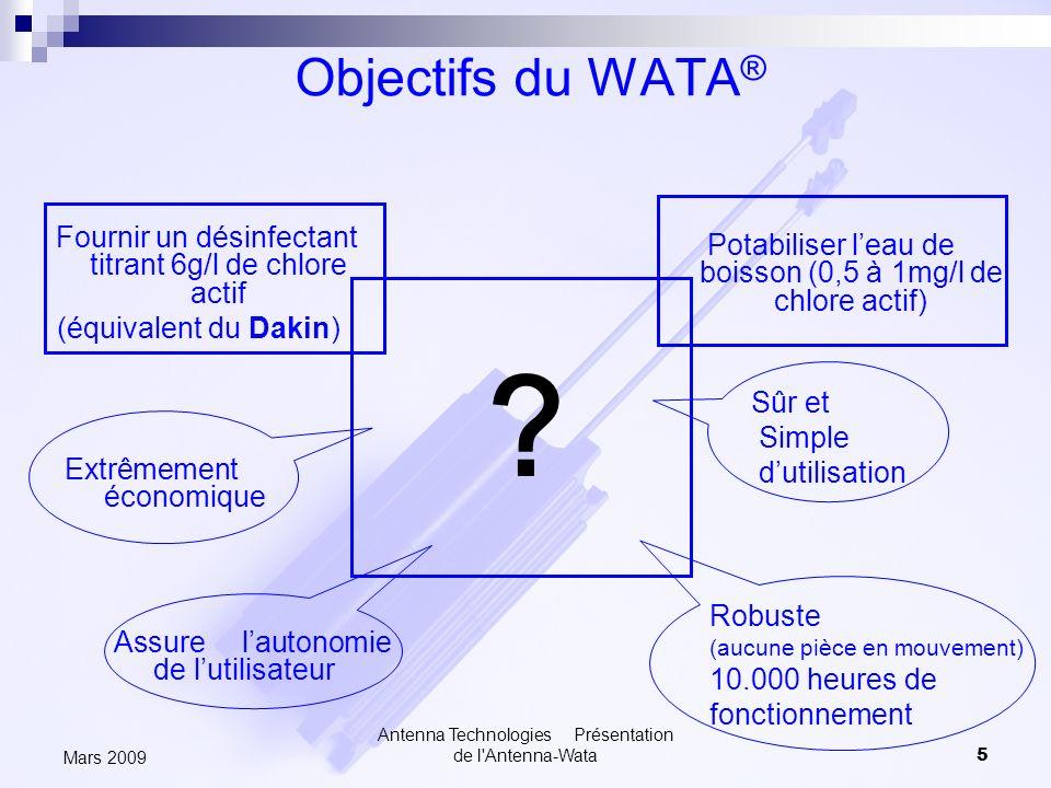 Antenna Technologies Présentation de l'Antenna-Wata5 Mars 2009 Objectifs du WATA ® Potabiliser leau de boisson (0,5 à 1mg/l de chlore actif) Extrêmeme