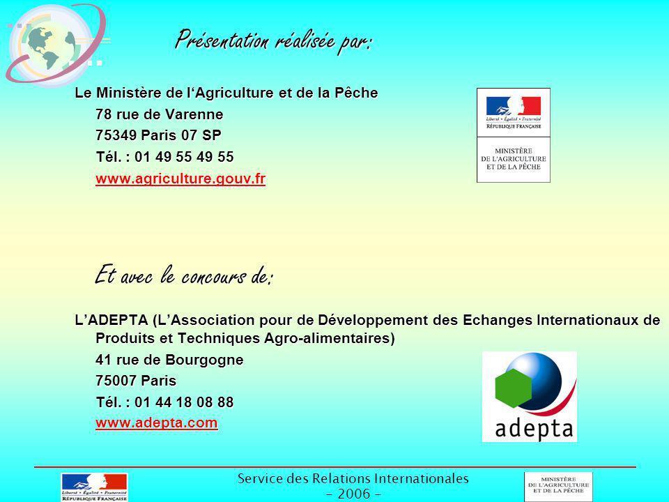 Service des Relations Internationales - 2006 - Présentation réalisée par: Le Ministère de lAgriculture et de la Pêche 78 rue de Varenne 75349 Paris 07 SP Tél.