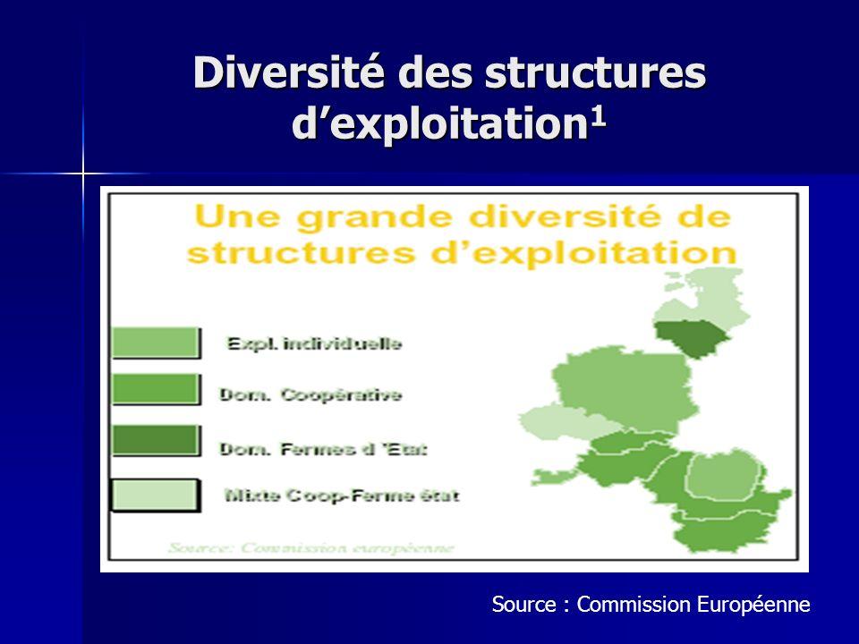 Diversité des structures dexploitation 1 Source : Commission Européenne