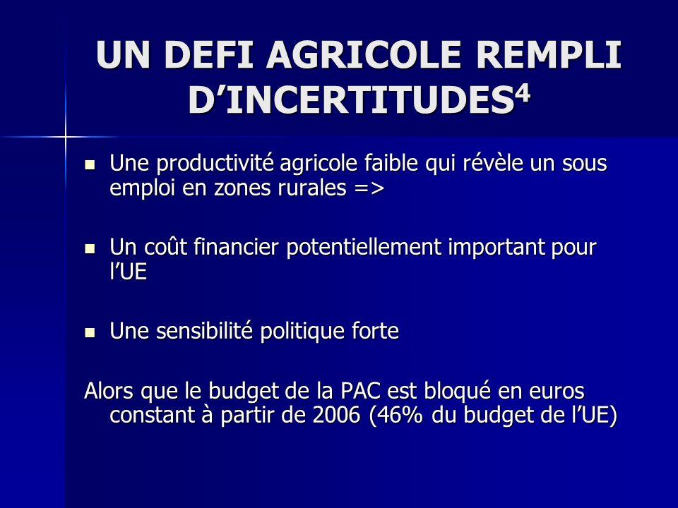 UN DEFI AGRICOLE REMPLI DINCERTITUDES 4 Une productivité agricole faible qui révèle un sous emploi en zones rurales => Une productivité agricole faibl