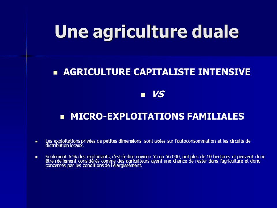 Une agriculture duale AGRICULTURE CAPITALISTE INTENSIVE VS MICRO-EXPLOITATIONS FAMILIALES Les exploitations privées de petites dimensions sont axées s