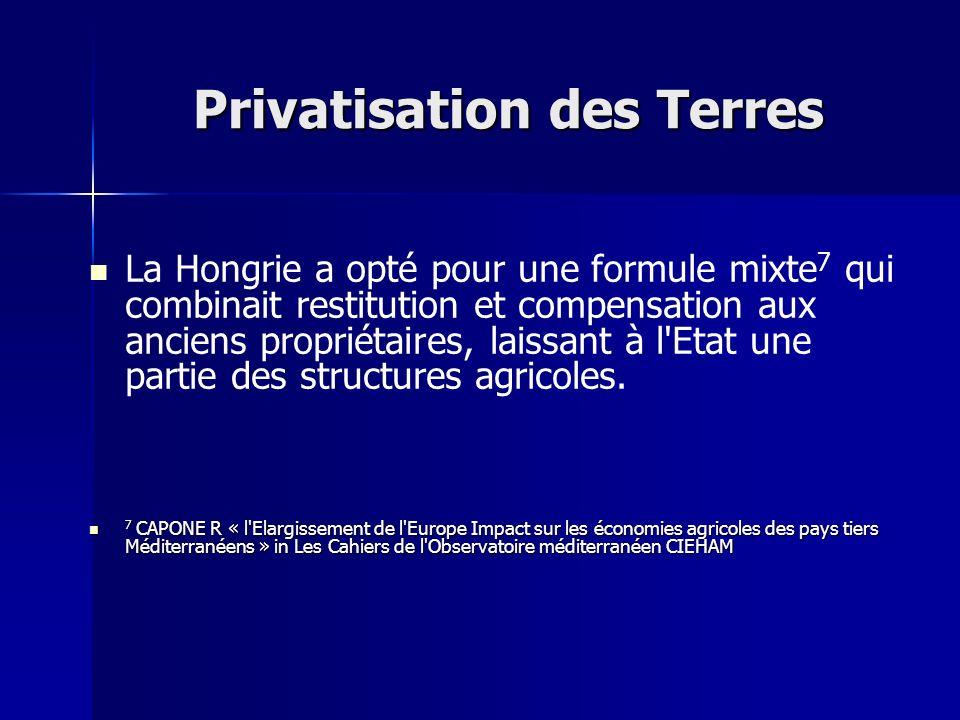 Privatisation des Terres La Hongrie a opté pour une formule mixte 7 qui combinait restitution et compensation aux anciens propriétaires, laissant à l'