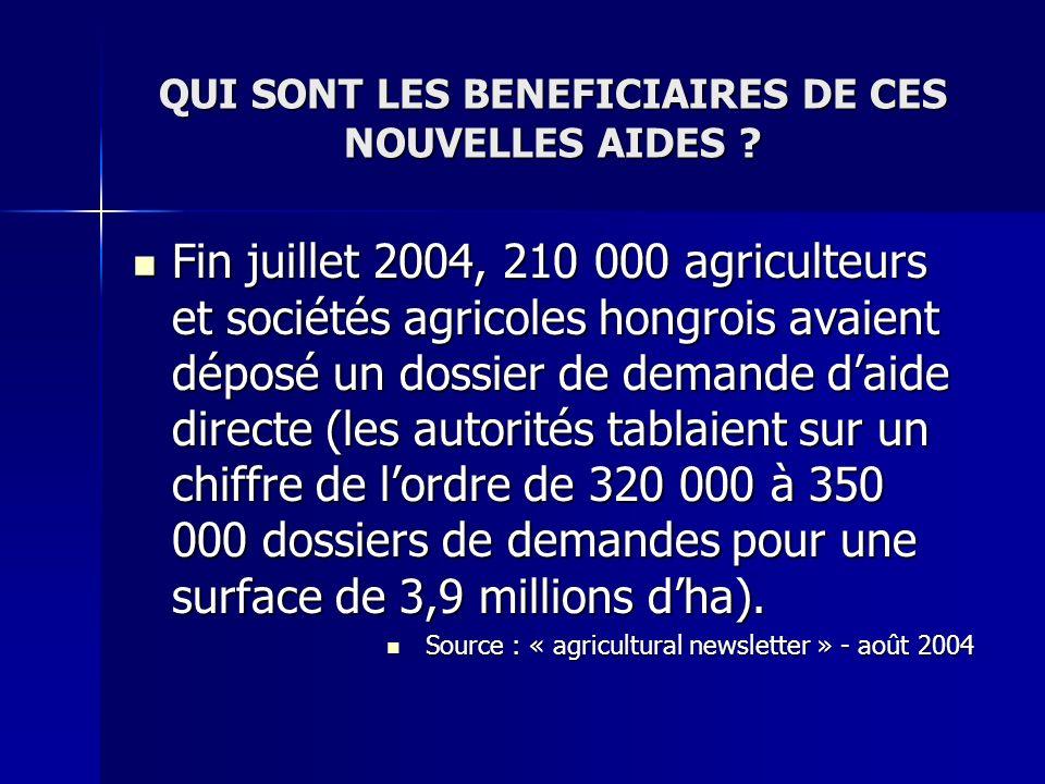 QUI SONT LES BENEFICIAIRES DE CES NOUVELLES AIDES ? Fin juillet 2004, 210 000 agriculteurs et sociétés agricoles hongrois avaient déposé un dossier de