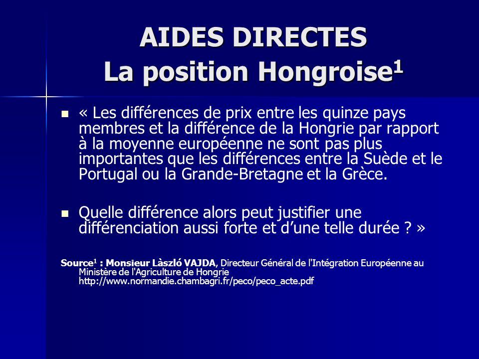 AIDES DIRECTES La position Hongroise 1 « Les différences de prix entre les quinze pays membres et la différence de la Hongrie par rapport à la moyenne