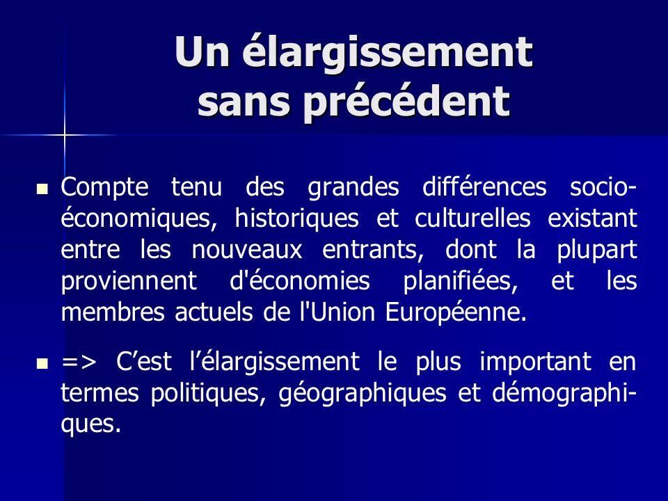 Un élargissement sans précédent Compte tenu des grandes différences socio- économiques, historiques et culturelles existant entre les nouveaux entrant