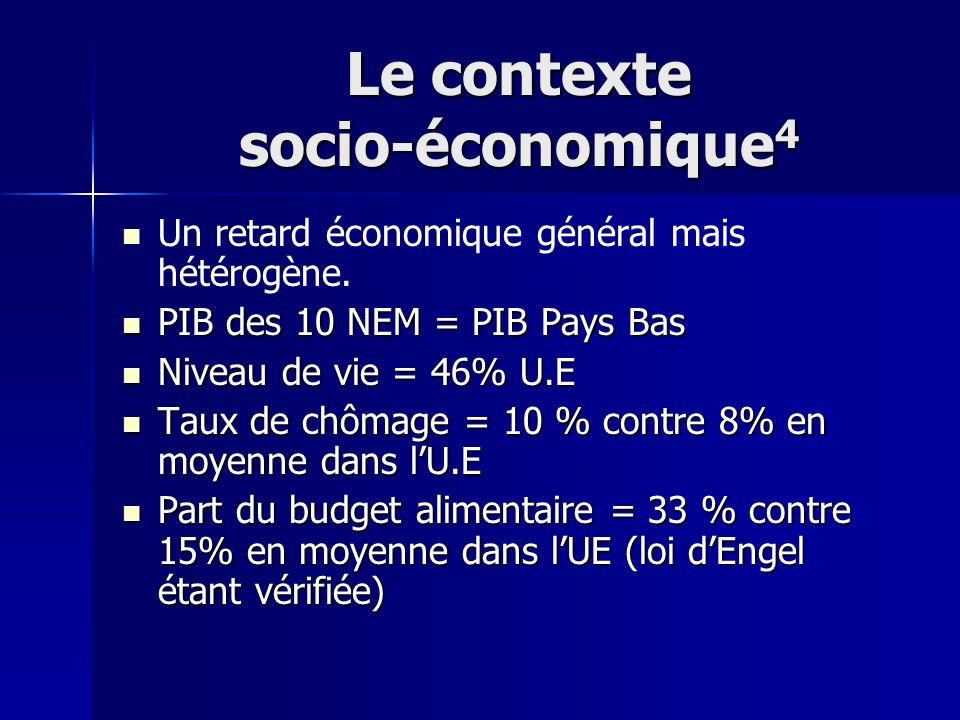 Le contexte socio-économique 4 Un retard économique général mais hétérogène. PIB des 10 NEM = PIB Pays Bas PIB des 10 NEM = PIB Pays Bas Niveau de vie