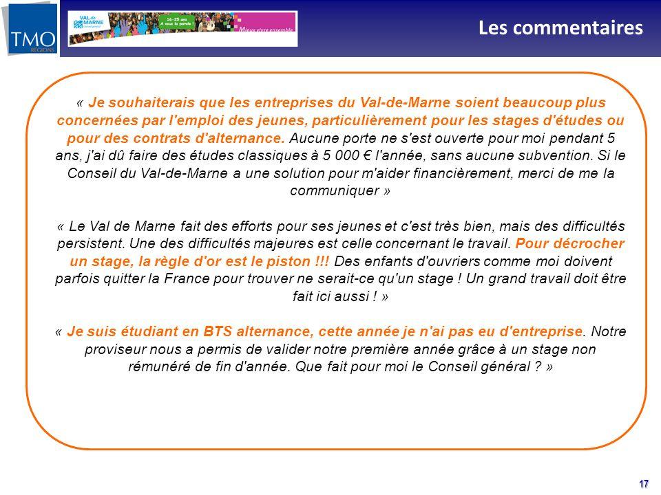 17 Les commentaires « Je souhaiterais que les entreprises du Val-de-Marne soient beaucoup plus concernées par l'emploi des jeunes, particulièrement po