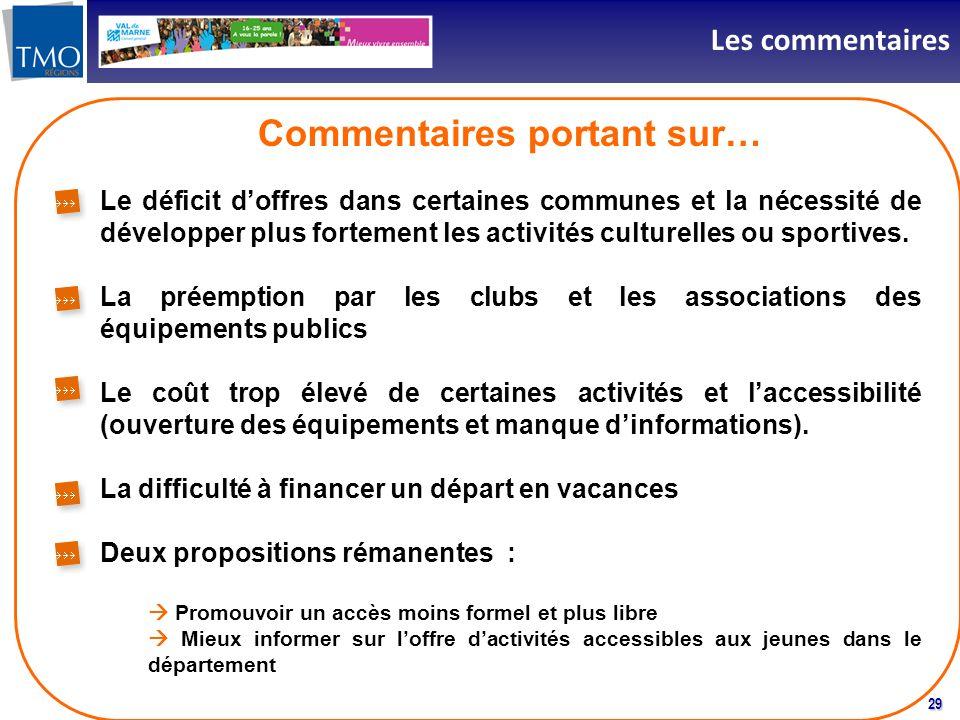 29 Les commentaires Commentaires portant sur… Le déficit doffres dans certaines communes et la nécessité de développer plus fortement les activités culturelles ou sportives.