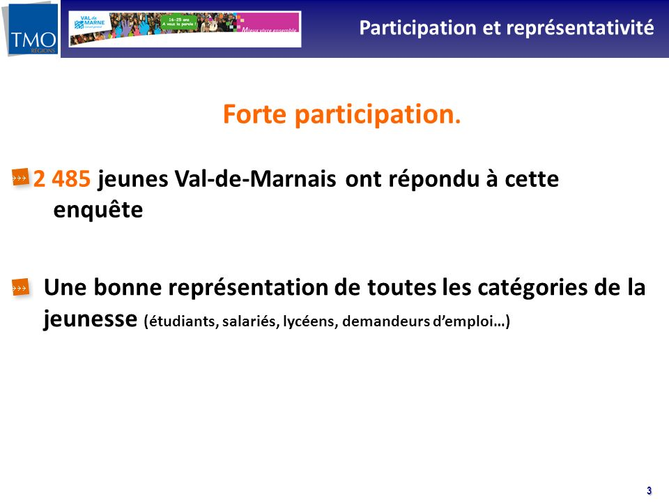 3 Participation et représentativité Forte participation. 2 485 jeunes Val-de-Marnais ont répondu à cette enquête Une bonne représentation de toutes le