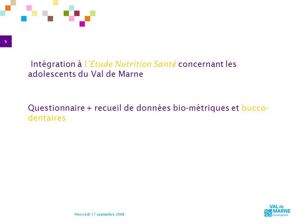 5 Mercredi 17 septembre 2008 Intégration à lEtude Nutrition Santé concernant les adolescents du Val de Marne Questionnaire + recueil de données bio-mé
