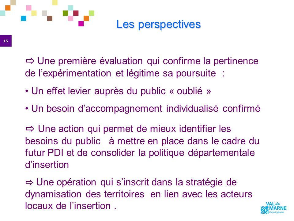 15 Les perspectives Les perspectives Une première évaluation qui confirme la pertinence de lexpérimentation et légitime sa poursuite : Un effet levier