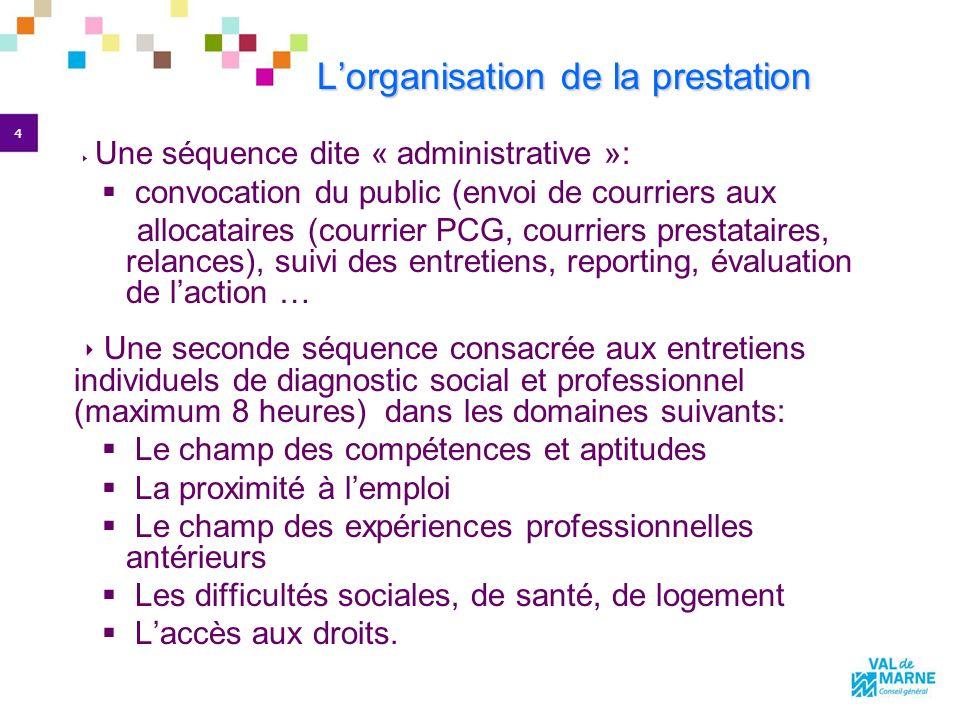 4 Lorganisation de la prestation Une séquence dite « administrative »: convocation du public (envoi de courriers aux allocataires (courrier PCG, courr