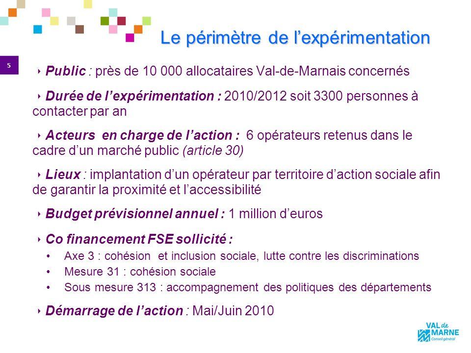 5 Le périmètre de lexpérimentation Public : près de 10 000 allocataires Val-de-Marnais concernés Durée de lexpérimentation : 2010/2012 soit 3300 perso