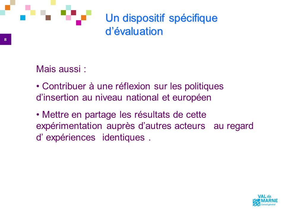 8 Un dispositif spécifique dévaluation Un dispositif spécifique dévaluation Mais aussi : Contribuer à une réflexion sur les politiques dinsertion au niveau national et européen Mettre en partage les résultats de cette expérimentation auprès dautres acteurs au regard d expériences identiques.