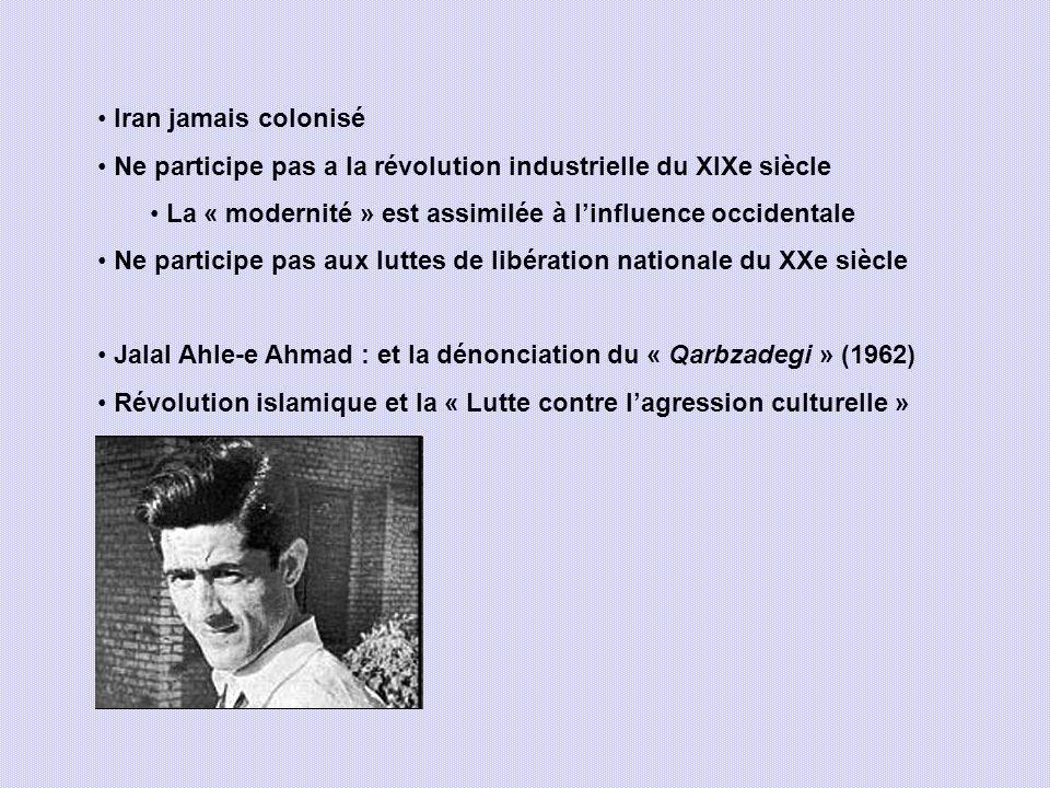Iran jamais colonisé Ne participe pas a la révolution industrielle du XIXe siècle La « modernité » est assimilée à linfluence occidentale Ne participe