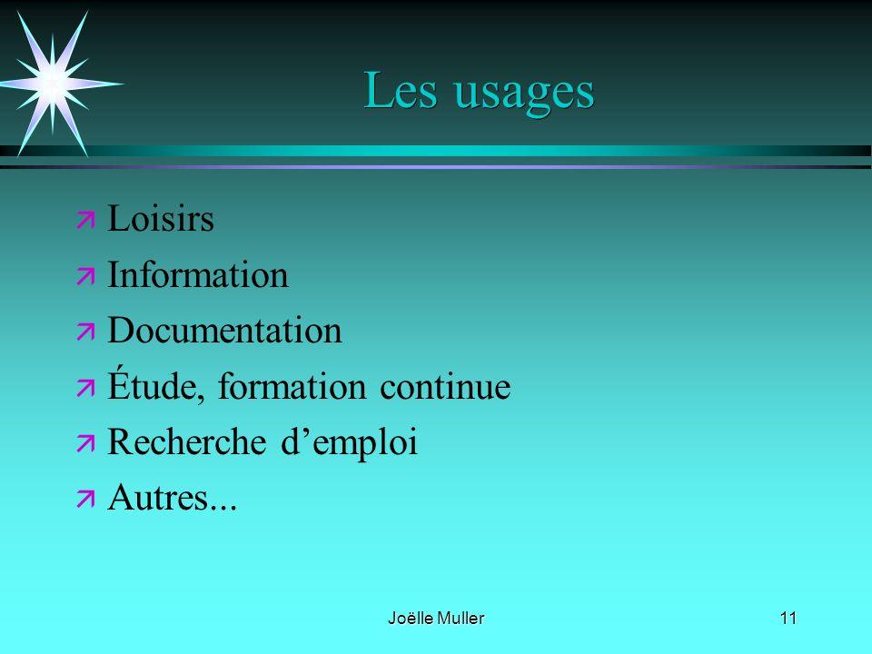 Joëlle Muller11 Les usages ä ä Loisirs ä ä Information ä ä Documentation ä ä Étude, formation continue ä ä Recherche demploi ä ä Autres...