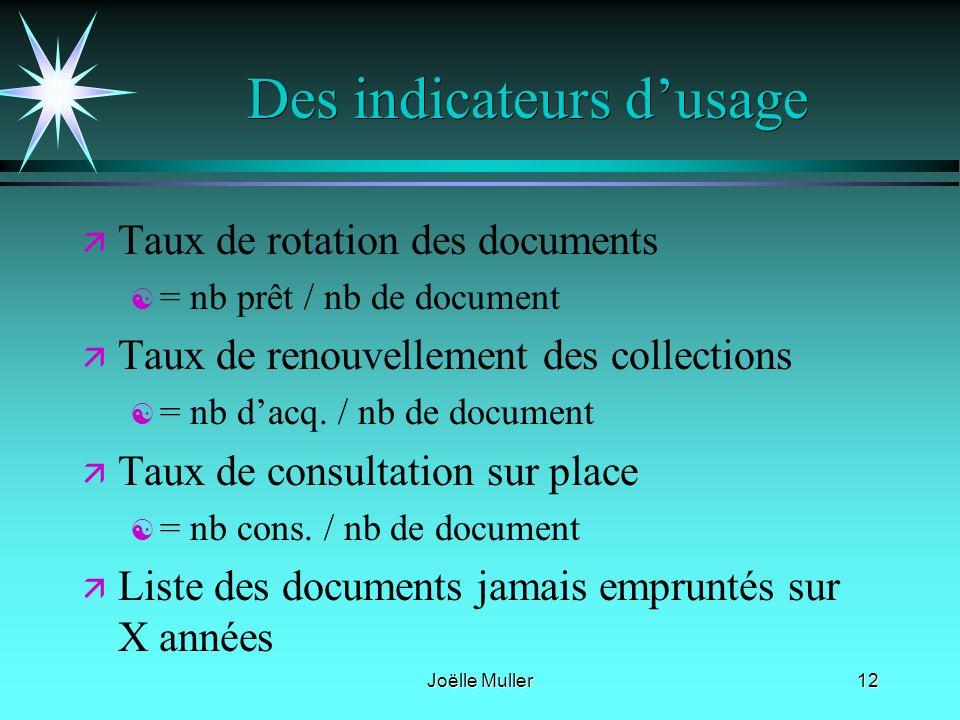 Joëlle Muller12 Des indicateurs dusage ä ä Taux de rotation des documents [ [ = nb prêt / nb de document ä ä Taux de renouvellement des collections [